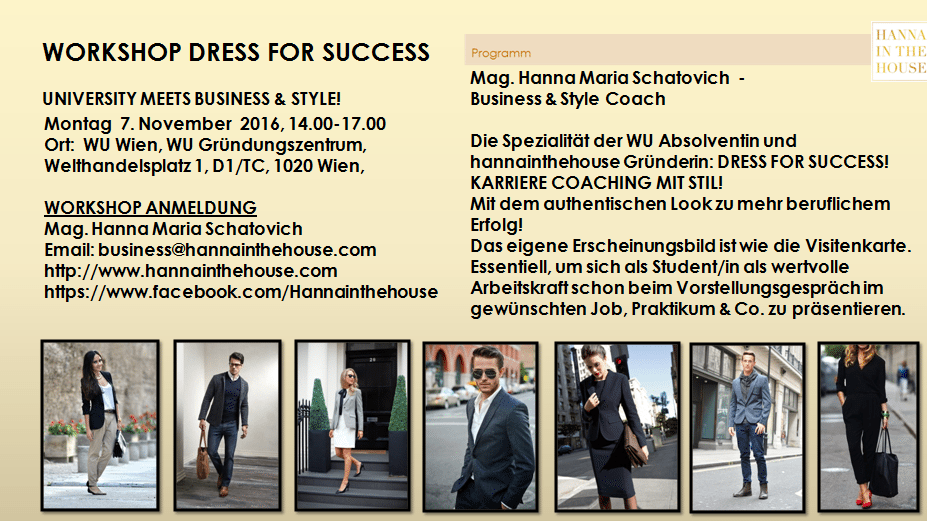 WORKSHOP DRESS FOR SUCCESS_WU WIEN GRÜNDUNGSZENTRUM